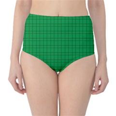 Pattern Green Background Lines High-Waist Bikini Bottoms