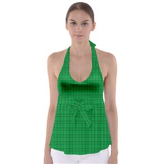 Pattern Green Background Lines Babydoll Tankini Top