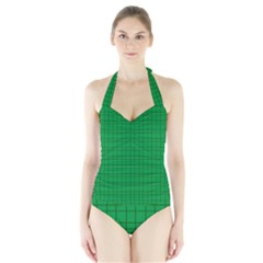 Pattern Green Background Lines Halter Swimsuit