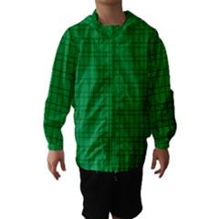 Pattern Green Background Lines Hooded Wind Breaker (kids)