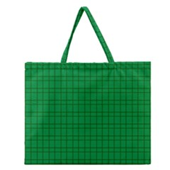 Pattern Green Background Lines Zipper Large Tote Bag by Nexatart