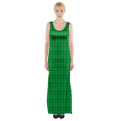 Pattern Green Background Lines Maxi Thigh Split Dress