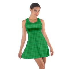 Pattern Green Background Lines Cotton Racerback Dress