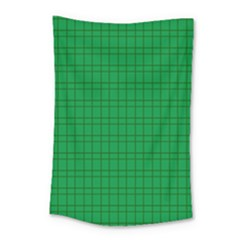 Pattern Green Background Lines Small Tapestry