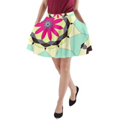Pink Flower A Line Pocket Skirt by theunrulyartist