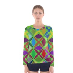 Abstract Pattern Background Design Women s Long Sleeve Tee