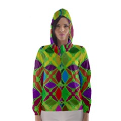 Abstract Pattern Background Design Hooded Wind Breaker (women)