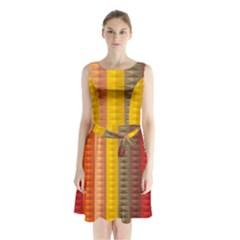 Abstract Pattern Background Sleeveless Waist Tie Chiffon Dress