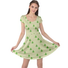 Christmas Wrapping Paper Pattern Cap Sleeve Dresses