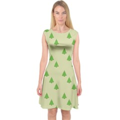 Christmas Wrapping Paper Pattern Capsleeve Midi Dress