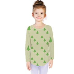 Christmas Wrapping Paper Pattern Kids  Long Sleeve Tee
