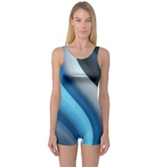 Abstract Pattern Lines Wave One Piece Boyleg Swimsuit