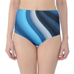 Abstract Pattern Lines Wave High Waist Bikini Bottoms