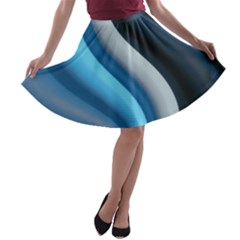 Abstract Pattern Lines Wave A Line Skater Skirt