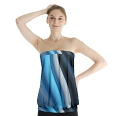 Abstract Pattern Lines Wave Strapless Top