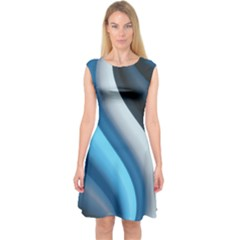 Abstract Pattern Lines Wave Capsleeve Midi Dress by Nexatart