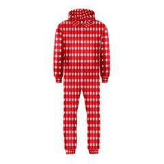 Pattern Diamonds Box Red Hooded Jumpsuit (kids)