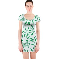 Leaves Foliage Green Wallpaper Short Sleeve Bodycon Dress