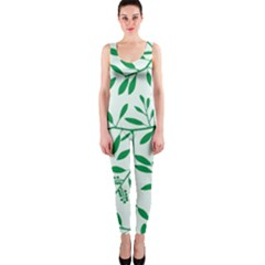 Leaves Foliage Green Wallpaper Onepiece Catsuit
