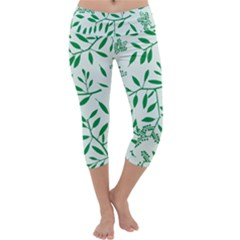 Leaves Foliage Green Wallpaper Capri Yoga Leggings