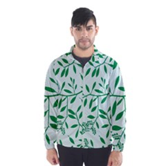 Leaves Foliage Green Wallpaper Wind Breaker (men)