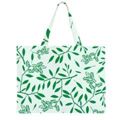 Leaves Foliage Green Wallpaper Zipper Large Tote Bag by Nexatart