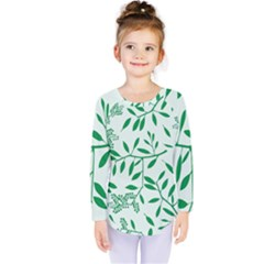 Leaves Foliage Green Wallpaper Kids  Long Sleeve Tee