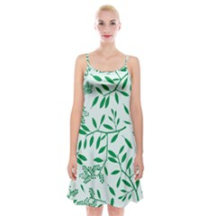 Leaves Foliage Green Wallpaper Spaghetti Strap Velvet Dress