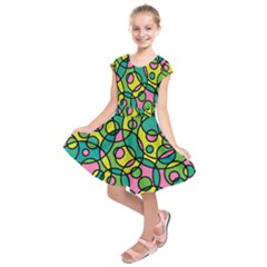 Circle Background Background Texture Kids  Short Sleeve Dress