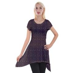 Pattern Background Star Short Sleeve Side Drop Tunic by Nexatart
