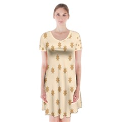 Pattern Gingerbread Star Short Sleeve V Neck Flare Dress