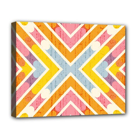 Line Pattern Cross Print Repeat Deluxe Canvas 20  X 16