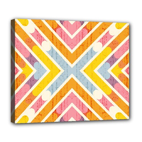 Line Pattern Cross Print Repeat Deluxe Canvas 24  X 20   by Nexatart