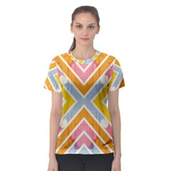 Line Pattern Cross Print Repeat Women s Sport Mesh Tee