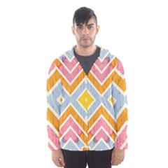 Line Pattern Cross Print Repeat Hooded Wind Breaker (men)