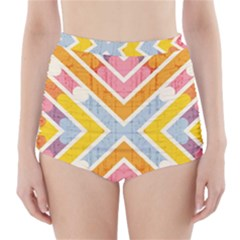 Line Pattern Cross Print Repeat High Waisted Bikini Bottoms