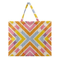 Line Pattern Cross Print Repeat Zipper Large Tote Bag by Nexatart