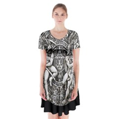 Pattern Motif Decor Short Sleeve V Neck Flare Dress