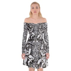 Pattern Motif Decor Off Shoulder Skater Dress