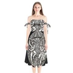 Pattern Motif Decor Shoulder Tie Bardot Midi Dress