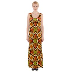 Geometry Shape Retro Trendy Symbol Maxi Thigh Split Dress