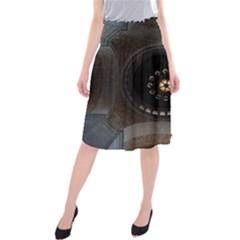 Pattern Design Symmetry Up Ceiling Midi Beach Skirt
