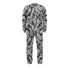 Gray Scale Pattern Tile Design Onepiece Jumpsuit (kids)
