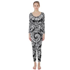 Gray Scale Pattern Tile Design Long Sleeve Catsuit