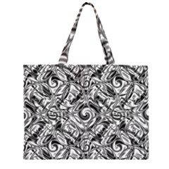 Gray Scale Pattern Tile Design Zipper Large Tote Bag by Nexatart