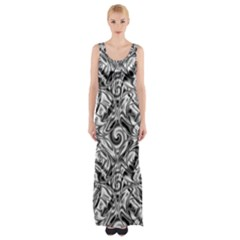 Gray Scale Pattern Tile Design Maxi Thigh Split Dress