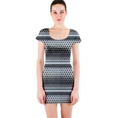 Sheet Holes Roller Shutter Short Sleeve Bodycon Dress