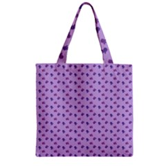 Pattern Background Violet Flowers Zipper Grocery Tote Bag