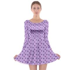 Pattern Background Violet Flowers Long Sleeve Skater Dress