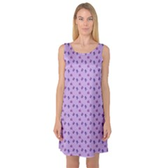 Pattern Background Violet Flowers Sleeveless Satin Nightdress